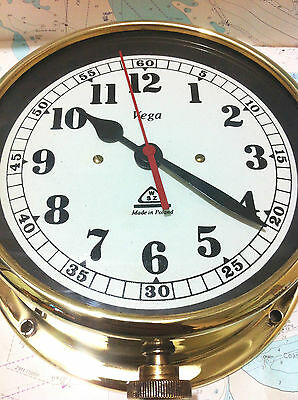 "Vintage Maritime Nautical Ship Boat Brass Clock "" Vega"" Made in Poland"