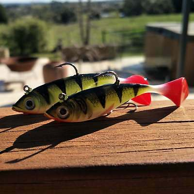 2pcs Soft plastic fishing lures Redfin Trout Murray Cod Yellowbelly Bass Brea...