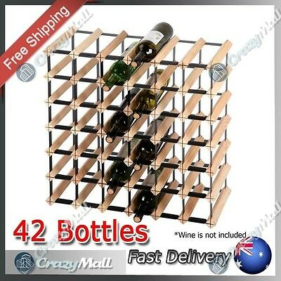 Timber Wine Rack 42 Bottle Timber Wine Rack Bottle Storage Organiser Stand