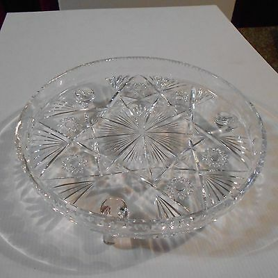 Crystal Round Cake Plate With Raised Sides And 3 Legs, 27Cm Diameter
