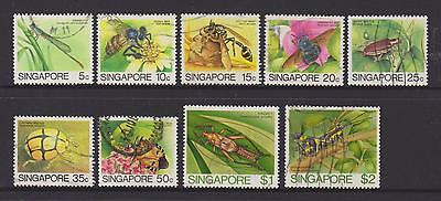 (UXSG016) SINGAPORE 1985 Insects 9v stamps to $2 fine used