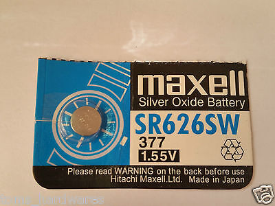 1x Maxell 377/SR626SW 1.55v Silver Oxide for Watch etc- Post from MELBOURNE