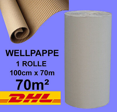 1 ROLLE 100 cm BREITE x 70 lfm  WELLPAPPE ROLLENWELLPAPPE Welle C #WP0044
