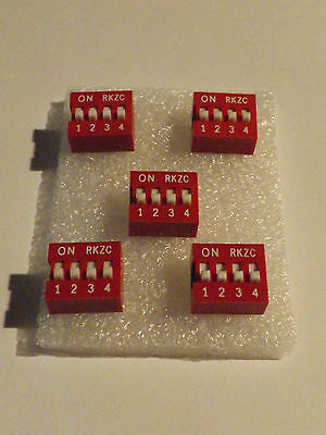 5 Way DIP Switch - Red - Slide Type 5x2 Position - 10 Pin - 5 Pack - Free P&P