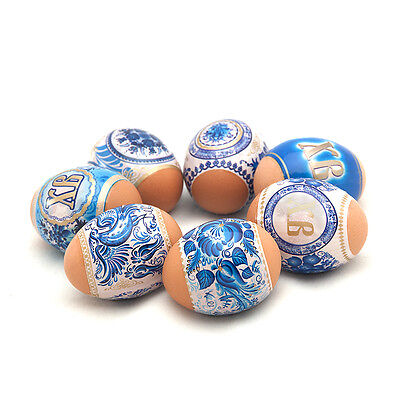 Russian Easter Egg Wraps/Sleeve/Sticker Decorating Amazing Colours Gzhel Circles