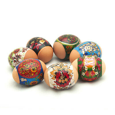 Russian Easter Egg Shrinking Wraps/Sleeves Green Khokhloma with Circle Patterns