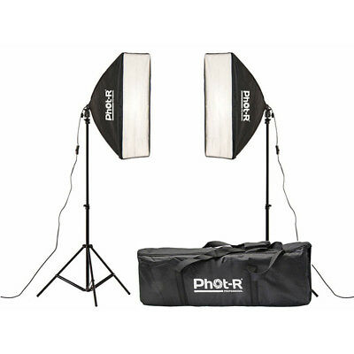Phot-R 2x 850W Photography Studio 50x70cm Softbox Continuous Lighting Stand Kit