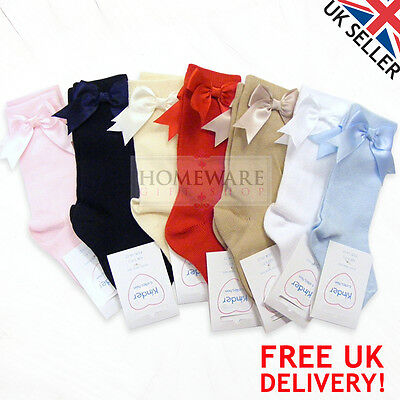 Girls Kids 3/4 To Knee High Socks Spanish Bow Socks New Uk Sizes 0-6 Years New
