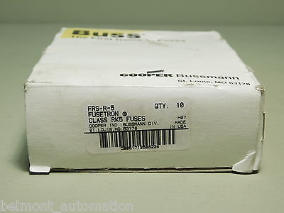 NEW IN BOX -Box of 8 Cooper Bussmann Buss FRS-R-5 Fusetron Class RK5 Fuses