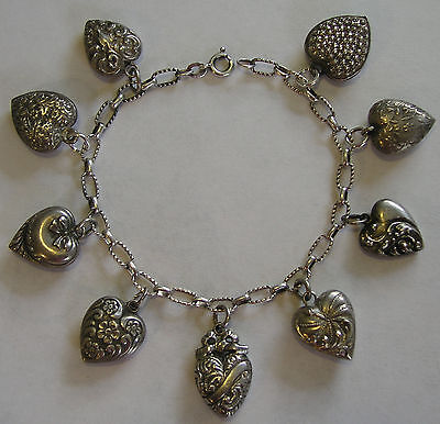 Antique Sterling/800 Silver Repousse Rosette PUFFY HEART Charm Bracelet 7.25""