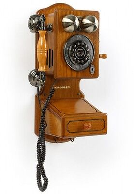 Retro Vintage Telephone Wall Mount Phone Country Kitchen Antique Wood Decor Home
