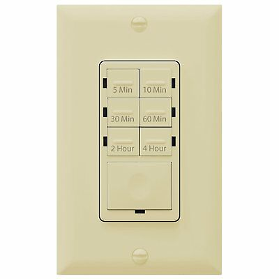 Enerlites HET06 Countdown Timer In-Wall Light Switch 4-Hour 7-Button Ivory