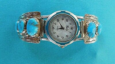 Native American Zuni Sleeping Beauty Turquoise And Silver Feather  Watch