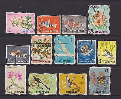 (UXSG020) SINGAPORE 1962 Animals and Flowers Set 13v to $2 Used