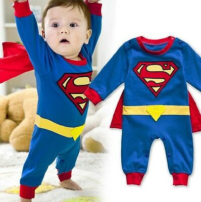 Baby Superman Long Sleeve Halloween Outfit Boy New Costume Size 3-18 Mths