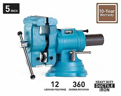 "Capri Tools 5"" Bench Vise 360° Rotation Base and Head"