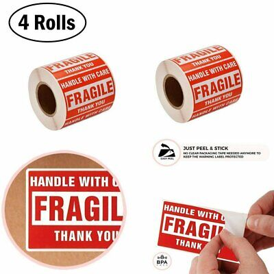 4 Rolls 2x3 FRAGILE Stickers Handle with Care Thank You Shipping Labels 500/Roll