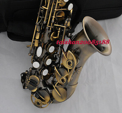 Antique Bb Curved Soprano sax Saxophone high F# with case