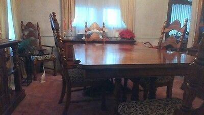 Dining set Solid Oak Table,6 ladderback chairs with cushioned seats china closet