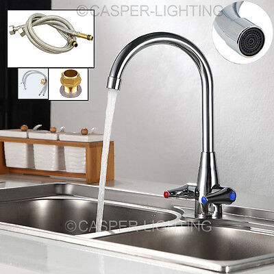 Luxury Modern Chrome Brass Twin Lever Swivel Spout Kitchen Basin Sink Mixer Tap