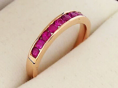 R165 CLASSIC 9K 9ct SOLID Rose Gold NATURAL Ruby ETERNITY Ring wedding size M