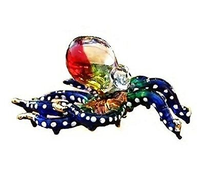Handmade Swimming Octopus Art Glass Blown Sea Animal Figurine - No.3, New, Free