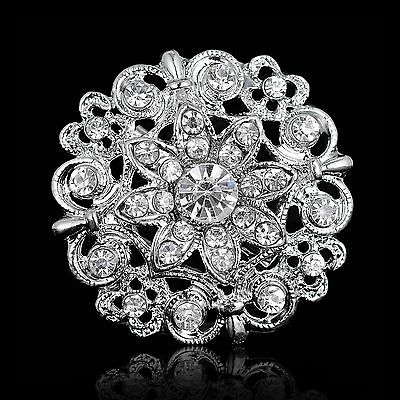 Buy 2 get 1 free silver rhinestone crystal bridal bouquet brooch pin wedding A