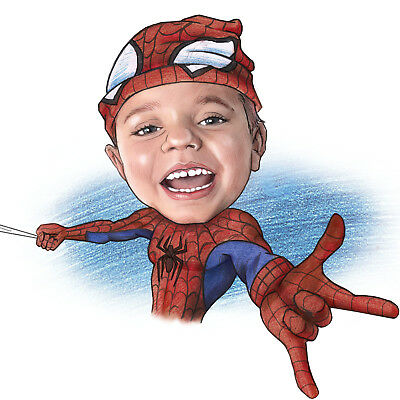 Superhero Baby Caricature Portrait as a Birthday Gift for your superhero child