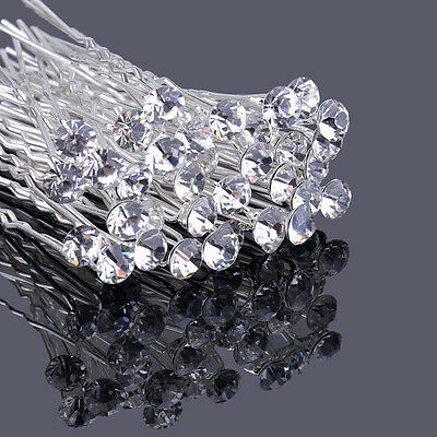 20pcs crystal 8mm bridal hair pins hair accessories wedding party