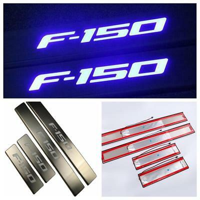 4Pcs LED Light 4 Door Stainless Scuff Plate Door Sill Entry Guard For Ford F150