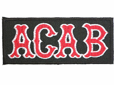 """ACAB Outlaw Biker 1%er Ultras Skins Iron On Embroidered Patch 3.5""""/8.8cm"""