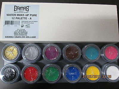 Grimas Professional Stage Face Paint / Water Make-Up 12 Colour Palette - A