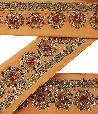 Vintage Sari Border Antique 1YD Used Hand Beaded Indian Trim Peach Ribbon Lace