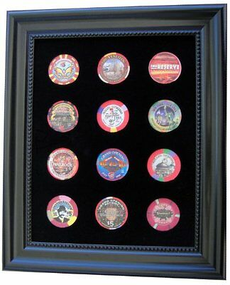 Black Casino Chip Display Frame for 12 Casino Poker Chips (not included), New, F