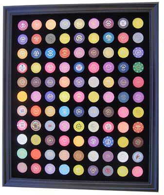 Black Casino Chip Display Frame for 99 Casino Poker Chips (not included), New, F