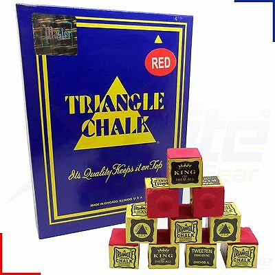 12 Cubes Red Triangle Snooker Pool Billiards Cue Tournament Chalk