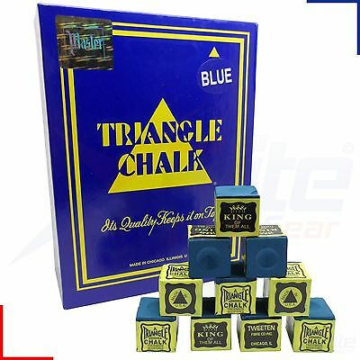 12 Cubes Blue Triangle Snooker Pool Billiards Cue Tournament Chalk
