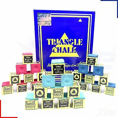 Triangle Snooker Pool Billiards Cue Chalk Green, Blue or Red - 12 - 144 Cubes
