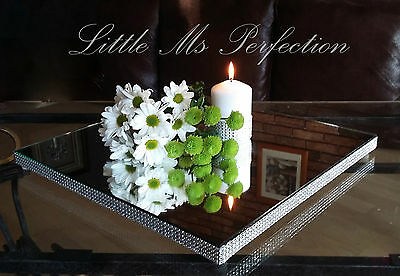 """Square Diamante Mirror Plate Wedding Table Cake Stand Candle Centerpiece 12"""" 16"""""""
