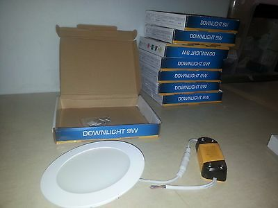 Lot of 8 New DuraLed Downlights Super thin 9 Watts  100-240v Super Bright!