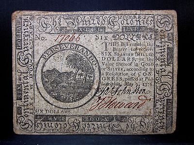 Colonial Currency ✪ Continental May 9Th 1776 ✪ Fr Cc-36 $6 ◢Trusted◣