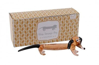 Glass Dachshund Sausage Dog Weiner Doxie Dachsie Ornament BNIB