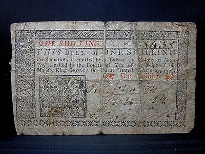Colonial Currency ✪ New Jersey March 25Th 1776 ✪ Fr Nj-175 1 Shilling ◢Trusted◣