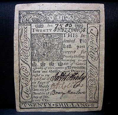 Colonial Currency ✪ Delaware January 1St 1776 ✪ Fr De-80 20 Shillings ◢Trusted◣