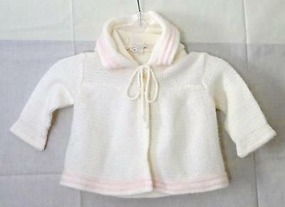 Vintage Unbranded 100% Acrylic Solid White Two Button l/s Sweater Hoodie 3-6 mos