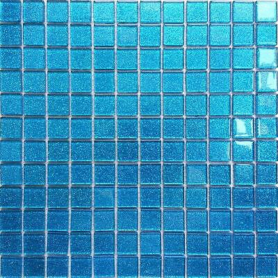 1 SQ M Blue Glitter Glass Bathroom Shower Basin DIY Mosaic Wall Tiles 0008