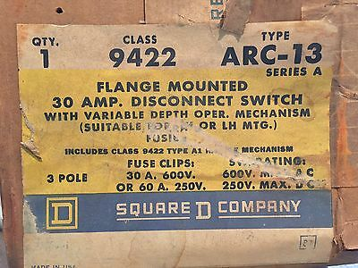 New! Square D 30 Amp Flange Mounted Disconnect Switch 9422-Arc-13 9422Arc13