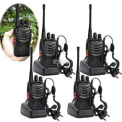 4pc Walkie Talkie 2Way Radio UHF 400-470MHZ 16CH Long Range Earpiece Headset B5U