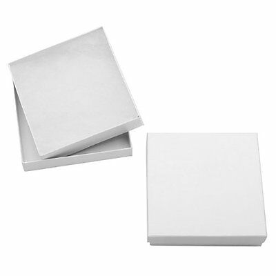 White Cardboard Square Jewelry Boxes With Swirls 3.5 x 3.5 x 1 Inches (16), New,