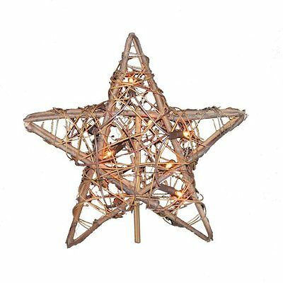 Kurt Adler 10 Light Indoor Rattan Natural Star Treetop, New, Free Shipping